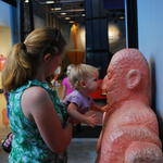 Zoe wanted to kiss and hug this wood carving at the Chicago Children's Museum
