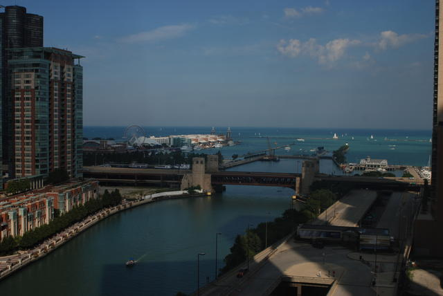 View of the Chicago River and Lake Michigan from our hotel room