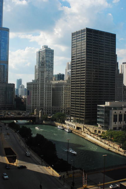 View of the Chicago River from our hotel room